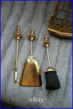 Vintage Brass Fireplace Fireside Companion Set Tools Poker Shovel Brush Stand