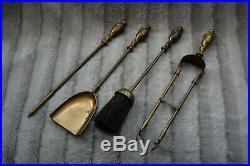 Vintage Brass Fireplace Fireside Companion Set Tools Poker Shovel Brush & Tongue