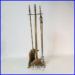 Vintage Brass Fireplace Tool Set 5 Piece 4 Tools Stand Free Shipping Nice Weight