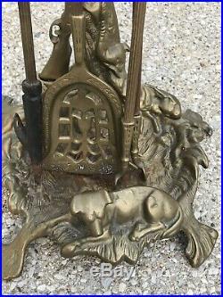 Vintage Brass Fireplace Tool Set Gun Hunting Dog Motif Poker Spade Tongs & Stand