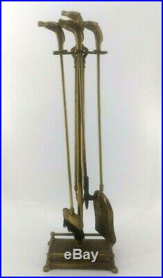 Vintage Brass Fireplace Tool Set Horse Heads Stand Tools Fire Place 5pc 50s