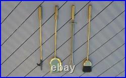 Vintage Brass Fireplace Tool Set Stand Broom Shovel Poker Log Grabber