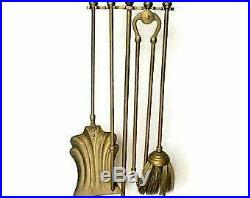 Vintage Brass Fireplace Tool Set and Stand Made in French