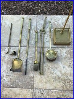 Vintage Brass Fireplace Tool Set and Stand by Peerage England