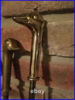 Vintage Brass Fireplace Tool Set with Duck Head Handles on the 4 Tools