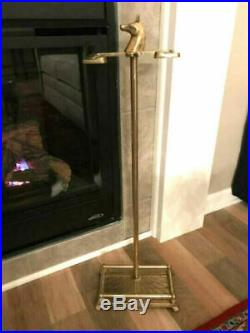 Vintage Brass Fireplace Tool Set with HORSE HEAD Handles Motif Shiny COMPLETE