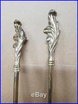 Vintage Brass Fireplace Tools Set 4 Piece Stand & Poker, Broom and Shovel