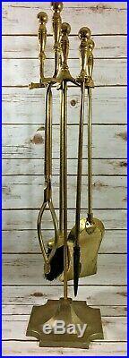 Vintage Brass Fireplace Tools Set 5 Piece Stand & Poker, Tongs, Shovel, Broom