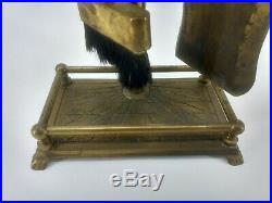 Vintage Brass Horse Head Fireplace Tool Set 50s Stand Tools Fire Place Rare