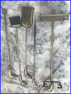 Vintage Brass Horse Head Fireplace Tools Set 4 Pieces with Stand
