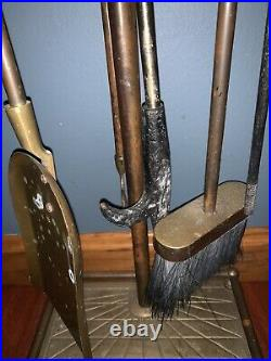Vintage Brass Horse Head Handle Fireplace 6 Piece Tool Set + Stand Equestrian