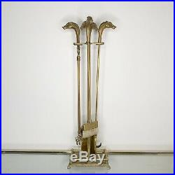 Vintage Brass Horse Head Handle Fireplace Tool Set Equestrian Traditional