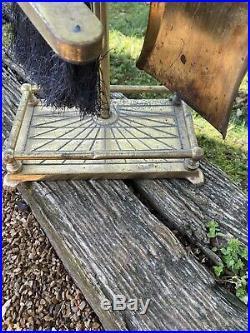 Vintage Brass Horse Heads Fireplace Set Tools Shovel, Tongs, Brush and Poker