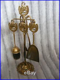 Vintage Brass Horseshoe Horse Head Fireplace Fireside Companion Set Tools Stand