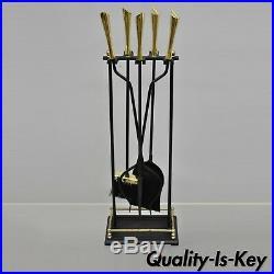 Vintage Brass & Iron Modernist Mid Century Modern Fireplace Mantel Tool Set