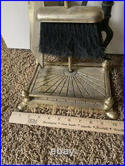 Vintage Brass Mallard Duck Head Fireplace 5 Piece Tool Set- 4 Tools/Stand