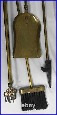 Vintage Brass Mallard Duck Head Fireplace 5 Piece Tool Set- 4 Tools/Stand Black