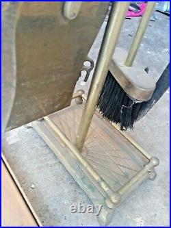 Vintage Brass Mallard Duck Head Fireplace 6 Piece Tool Set- 5 Tools/Stand Base