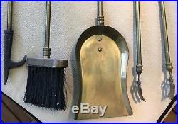 Vintage Brass Mid Century HORSE Head Handle Fireplace Tool Set Ranch Cabin Decor