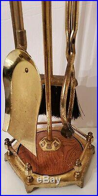 Vintage Brass & Wood Fireplace Tool Set