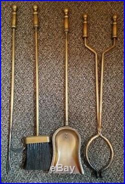Vintage Bronze Brass Finish Fireplace Tool Set Adams Dubuque