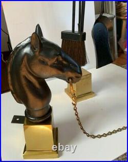 Vintage Cast Iron Horse Head Brass Fireplace Andirons & Fireplace Tool Set -NICE