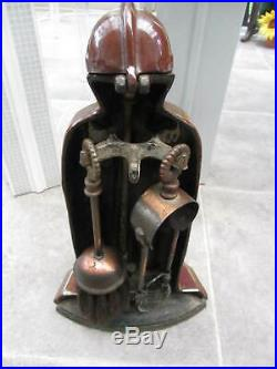 Vintage Cast Iron Medieval Knights in Armor Fireplace Companion Set Fire Tools