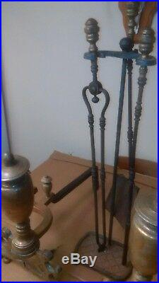 Vintage Chinese Chippendale Hand Forged Brass Urn Andirons & Fireplace Tools Set