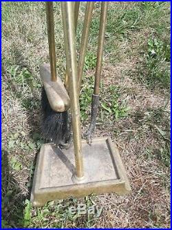 Vintage Claw Foot Fireplace Tool Set withStand Tongs/Grabber Shovel Poker Broom