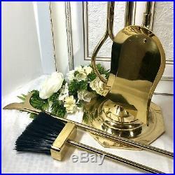 Vintage Decorative Crafts Brass Fireplace Tool Set Hollywood Regency MCM 5 piece