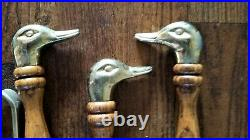 Vintage Duck Head Brass Fireplace 4 Tools with Base 5 pc Set