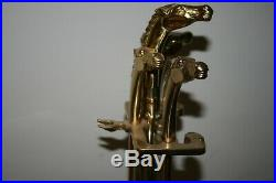 Vintage Equestrian Brass Horse Head 4 Piece Fireplace Tool Set 31 With Stand