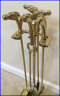 Vintage Equestrian Brass Horse Head 5 Piece Fireplace Tool Set 31 In Stand