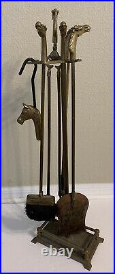 Vintage Equestrian Brass Horse Head 5 Piece Fireplace Tool Set 32 Stand