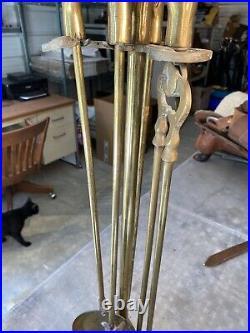 Vintage Equestrian Horse Head Brass Fireplace Tool Set
