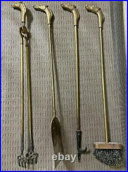 Vintage Equestrian Horse Head Solid Brass Fireplace Tools Set 5 Pieces