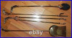 Vintage Equestrian Horse Head Solid Brass Fireplace tool set 5 pcs