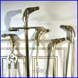 Vintage Equestrian Horse Head Solid Brass Fireplace tool set-5 pcs. BLACK brush