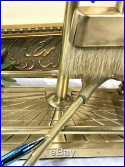 Vintage Equestrian Horse Head Solid Brass Fireplace tool set-5 pcs. White brush