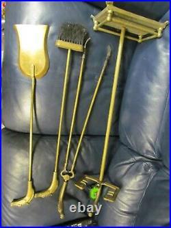 Vintage Equestrian Horse Head Solid Brass Fireplace tool set Broom Pan Grabber