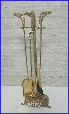 Vintage Equestrian Solid Brass Horse Head Fireplace Tool Set 5 Pieces 26