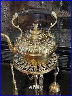 Vintage Fireplace Brass Kettle Warmer Tool Set Decorative Unique Cooking