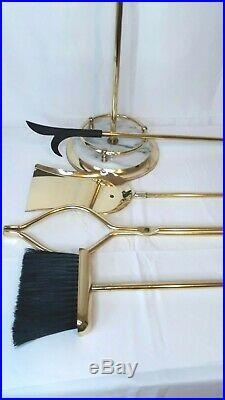 Vintage Fireplace Carrera Marble Ornate & Brass 5 Piece metalware Tool Set