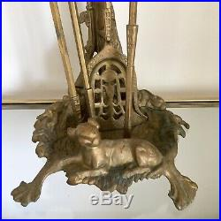 Vintage Fireplace Set Solid Brass Dog Gun Hunting Motif Poker Spade Tongs Tools