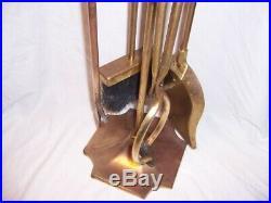 Vintage Fireplace Set Solid Brass Poker Spade Brush Tongs Tools