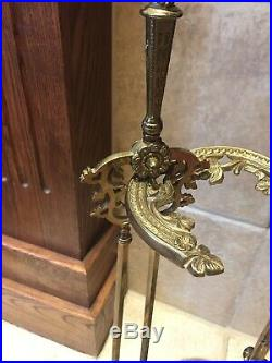 Vintage Fireplace Set Solid Brass Poker Spade Tongs Tools