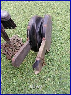 Vintage Fireplace Tool Set Brass 4 Tools fireside companion + wood hand blower