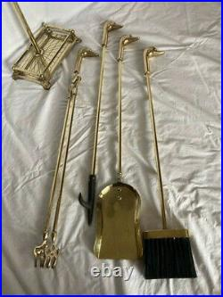 Vintage Fireplace Tool Set Brass Duck Heads Excellent