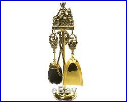 Vintage Fireplace Tool Set Brass Pixie Devil Figure Sitting on Mushroom England