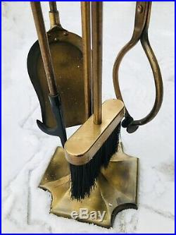 Vintage Fireplace Tool Set Broom Shovel Tongs Poker Made In Taiwan Antique Brass